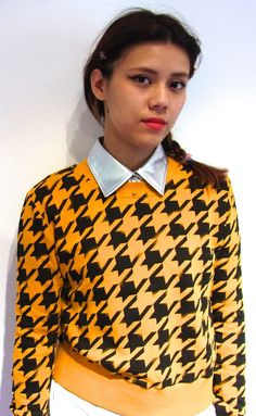 Staff Styling with Houndstooth Check Sweater, Sliver collar top | Fall & Winter | Dolly & Molly | www.dollymolly.com | #metallic #chic #stylish #retro #vintage #makeup #japan #streetfashion #styling #lookbook #daily #diary #shopstaff #vogue #model #facial #expression