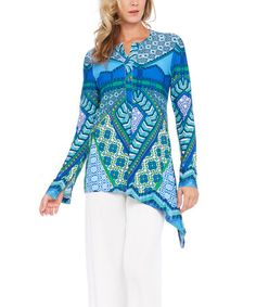 Another great find on #zulily! Blue Geometric Long-Sleeve Top #zulilyfinds