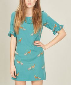 Take a look at this Green Deer Shift Dress on zulily today!