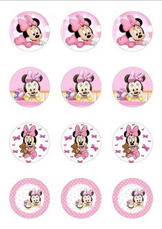 Minnie Mouse Template, Minnie Mouse Stickers, Minnie Mouse Cupcake Toppers, Minnie Mouse Birthday Decorations, Minnie Mouse Pictures, Mickey Mouse Clubhouse Birthday, Minnie Mouse Pink, Mickey Birthday, Baby Mickey