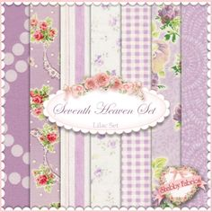 """Seventh Heaven 7 FQ Set - Lilac: This Seventh Heaven Set is an exclusive Shabby Fabrics creation!  We have taken the guesswork out of finding coordinating fabrics.  This set contains 7 coordinating fat quarters, each measuring approximately 18"""" x 21""""."""