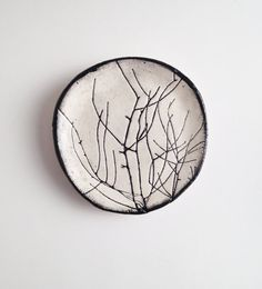 Black and White Pressed Botanical Catch All Dish no di SlashofBlue