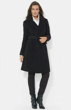 Lauren Ralph Lauren Wool Blend Wrap Coat (Online Only) Nordstrom Winter Mode Outfits, Winter Fashion Outfits, Outfit Winter, Winter Shoes, Winter Clothes, Winter Wear, Cute Winter Coats, Grunge, Coats For Women