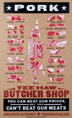 PORK BUTCHER MEAT Market Cuts Hand Printed Letterpress Poster loin ribs bacon…