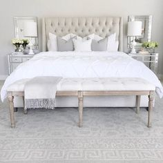 Home decorating ideas bedroom tufted linen bed, classic gray benjamin moore walls, mirrored nightstand, white … – awesome home design ideas and decor Furniture, Bedroom Paint Colors Master, Bedroom Interior, Home Decor, Modern Bedroom, Master Bedroom Paint, Classic Bedroom, Interior Design Bedroom, Trendy Bedroom