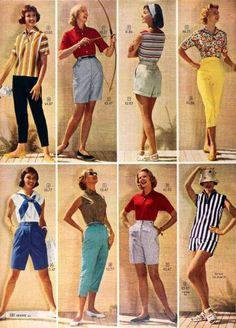 Shorts: Vintage Retro Shorts History Nostalgia bermuda shorts from the womans swin suit - Woman Shorts and Bermudas Fashion Mode, Look Fashion, Womens Fashion, Fashion Design, Fashion Trends, 1950s Fashion Women, Vintage Fashion 1950s, Fifties Fashion, 1950s Fashion Pants