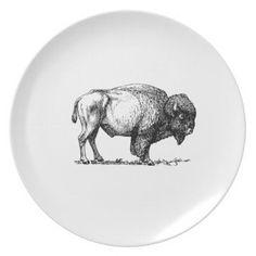 #plain - #beefy buffalo bull melamine plate