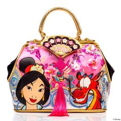 This Irregular Choice Disney Princess Mulan 'Let Dreams Blossom' Handbag will have you looking like a chic Disney princess! This purse features a cherry blossom theme with Mulan and Mushu on the front. Disney Bags, Disney Handbags, Disney Purse, Disney Shoes, Disney Outfits, Disney Collection, Irregular Choice, Irregular Shoes, Shoulder Strap Bag