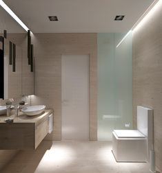 Thoroughly modern with clean lines and clad in travertine.