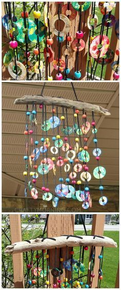 Colorful Metal Washer Wind Chime - what a beautiful craft/diy project to hang this summer!