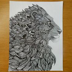 Resultado de imagen de zentangle lion
