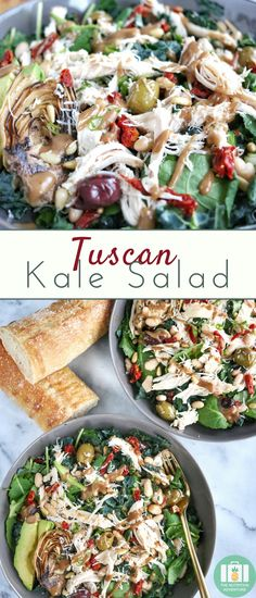 This hearty Tuscan Kale Salad comes together quickly for an easy dinner when you're short on time! Easy Salads, Healthy Salad Recipes, Whole Food Recipes, Jar Recipes, Veggie Recipes, Healthy Meals, Recipe Ideas, Vegetarian Recipes, Healthy Food
