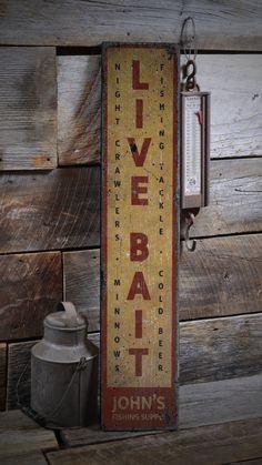Live Bait Sign, Vertical Bait Shop Sign, Custom Wood Sign for Bait Shop Gift, Fishing Sign, Rustic HandMade Vintage Wooden Sign Lake House Signs, Lake Signs, Cabin Signs, Custom Wood Signs, Wooden Signs, Pine Trim, Fishing Signs, How To Make Signs, Live Bait