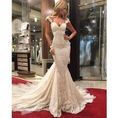 Sexy Elfenbein Spitze Brautkleider Perlen Meerjungfrau Abendkleid Hochzeitskleid in Kleidung & Accessoires, Hochzeit & Besondere Anlässe, Brautkleider | eBay