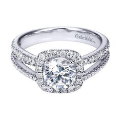 white gold split-shank french pave set round diamond engagement ring with cushion shaped halo. This mounting features a cushion shaped halo of round diamonds with a french pave se Round Halo Engagement Rings, Engagement Ring Settings, Halo Rings, The Bling Ring, Do It Yourself Fashion, Wedding Ring Bands, Bridal Rings, Beautiful Rings, Wedding Rings