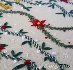 Garland with pine branches and poinsettias 🎄 . . . #embroidery #stitching #handembroidery #handmade #bordado #broderie #handmadeUSA #embroideryinstaguild #needlework #damngoodstitch #makersmovement #makersgonnamake #dmcthread #contemporaryembroidery #modernmaker #etsyseller #handstitched #embroideryaddict #embroideryart #xmascrafts #embroiderypattern #holidaycrafts #christmasgifts #hoopart