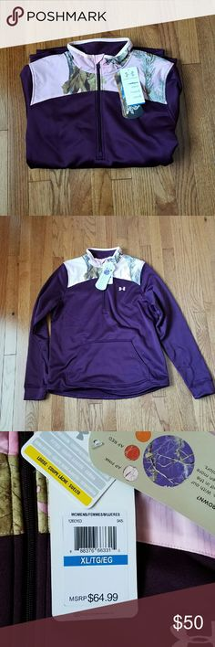 Under Armour Realtree Camo Coldgear 1/2 Zip XL New with tags. This is super cute, wish it was my size! Body is a deep burgundy with the top being pink Realtree APC camo. Under Armour Tops