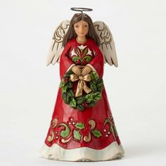 Joy To Our World-Pint Sized Angel with Wreath Figurine