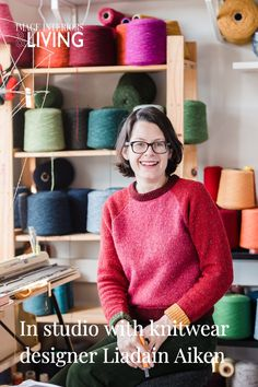 Prior to swapping out her Dublin city digs for a new studio in Ballydehob, Co Cork, we visited the knitwear designer's Liffey-side studio where she weaved her woollen wares informed by character and colour. Irish Design, Dublin City, News Studio, Cork, Knitwear, Men Sweater, Colour, Knitting, Sweatshirts