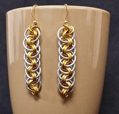 Silver and Gold Color Earrings Chainmaille by FirebeardDesigns