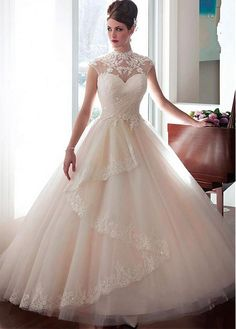 Elegant Tulle High Collar Ball Gown Wedding Dress With Beaded Lace Appliques & Detachable Jacket