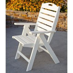 Outdoor POLYWOOD® Nautical Recycled Plastic Highback Patio Chair Black - NCH38BL
