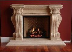 Limestone fireplace.