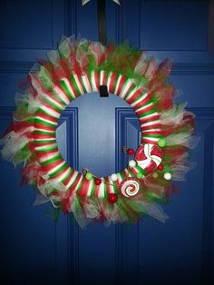 "12"" Christmas Tulle Wreath on Etsy, $30.00"