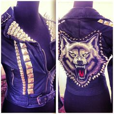 XS Studded Spiked Custom Wolf Leather Jacket from 'Dressed To Kill'... (48 AUD) ❤ liked on Polyvore featuring outerwear, jackets, wolf jacket, patch leather jacket, leather straight jacket, blue jackets and vintage leather jacket