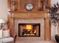 Classic design tile and wood decorated corner fireplace