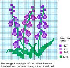 miniature foxglove pillows cross stitch pattern
