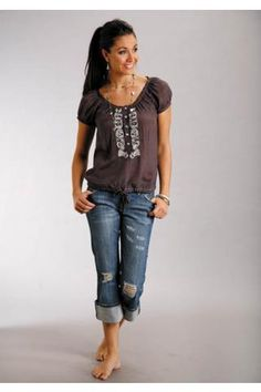 Women's Brown Crepe Shirt Stetson Ladies Collection Spring I Western Clothing the whole outffit