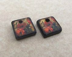 "1/2"" MINI Square Vintage Red Tan Sage Poppy Floral Earring Dangle Charm Set 2"