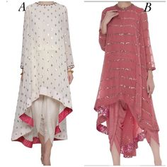High-low kurti styled in two different ways, what's your pick? Pakistani Dress Design, Pakistani Dresses, Indian Dresses, Indian Outfits, Kurti Pakistani, Anarkali, Kaftan Designs, Kurta Designs Women, Blouse Designs