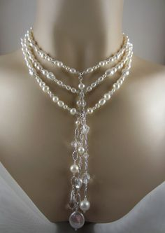 "Elegant Bridal Necklace, Freshwater Pearls and Crystals for your Wedding - ""VANESSA"". $285.00, via Etsy."
