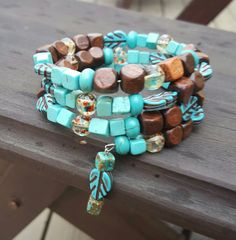 Memory wire bracelet with wood, glass and turquoise stone beads