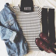 Image via We Heart It #beanie #grunge #jeanjacket #kneesocks #outfit #stripedshirt #tumblr #drmarten