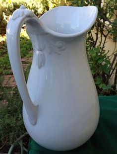Antique White Ironstone Ewer / Pitcher Late by 4HollyLaneAntiques, $250.00