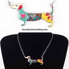 Dachshund Colorful Enamel Necklace