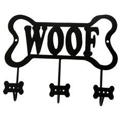 """Lucky Dog Bone Shaped """"Woof"""" Leash Wall Hook Rack"""