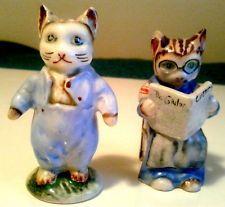 Vintage Japan Anthropomorphic Cat Salt and Pepper Shakers