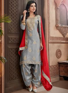 Light Grey And Red Embroidered Chanderi Punjabi Suit - Party wear - Design Latest Punjabi Suits, Punjabi Suits Party Wear, Designer Punjabi Suits, Indian Suits, Indian Designer Wear, Indian Wear, Punjabi Dress, Pakistani Dresses, Indian Dresses