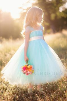 SEAFOAM FLOWER GIRL TUTU DRESS | if there was a dress like this in purple, Asher would be in love!