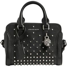 Alexander Mcqueen Women Mini Padlock Studded Leather Top Handle (4,615 SAR) ❤ liked on Polyvore featuring bags, handbags, shoulder bags, black, mini handbags, mini shoulder bag, studded purse, skull handbags and metal purse