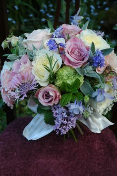 Rachel's June Rose garden bouquet with bluebells and lilac