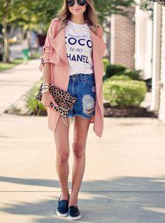 coral coat, blue denim shorts, white t-shirt, black trainers, leopard print purse. Street women fashion outfit clothing style apparel @roressclothes closet ideas