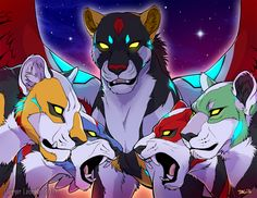 Black Lion, Blue Lion, Yellow Lion, Green Lion and Red Lion from Voltron Legendary Defender