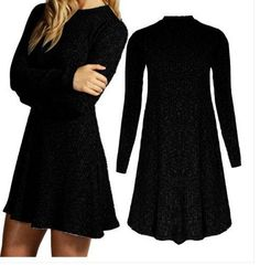 Women's Fashion Knit Ribbed Scoop A-Line Long Sweater