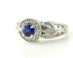 14K Blue Sapphire Ring Vintage Blue Sapphire Engagement Ring Diamond Halo Art Nouveau Gold Platinum Custom Bridal Jewelry. $1,302.00, via Etsy.