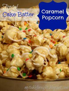 Frosted Cake Batter Caramel Popcorn